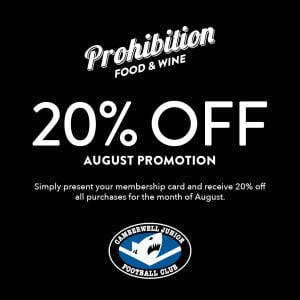 Thank you to our generous sponsor Prohibition Food & Wine – offering 20% off to all Sharks families!